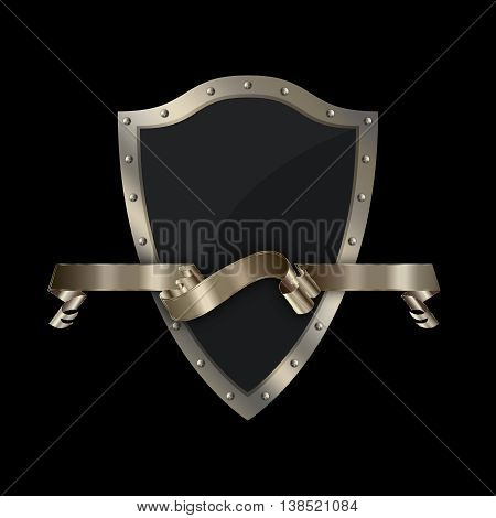 Medieval shield with riveted border and gold ribbon on black background.
