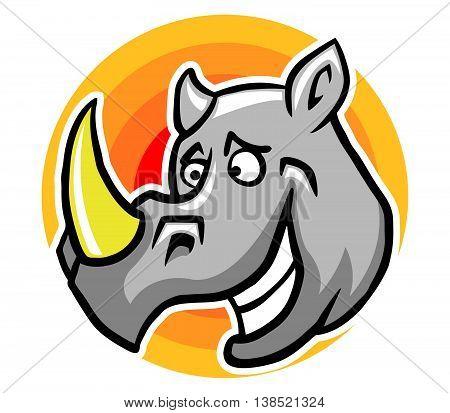 A vector illustration of smiley rhinoceros .