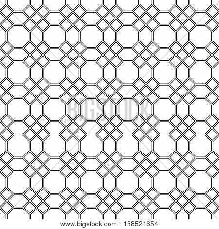 Seamless pattern of the octagon vector. Octagon pattern. Octagon seamless pattern. Black octagon pattern background. Octagons pattern Elements for design. All in a single layer. Vector illustration.