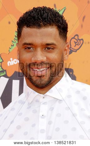 Russell Wilson at the Nickelodeon Kids' Choice Sports Awards 2016 held at the UCLA's Pauley Pavilion in Westwood, USA on July 14, 2016.