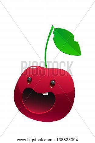 Bright juicy delicious cherry cartoon face happy