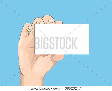hand holding the empty card vector illustration