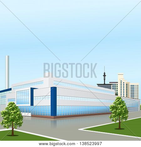 factory building with offices and production facilities in perspective