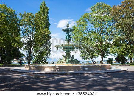 Fountain at the English garden in Geneva Switzerland