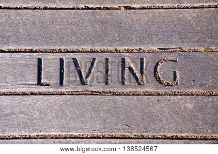 Living carved into wooden boardwalk panel. Lifestyle and living concepts. Graphic resource background.