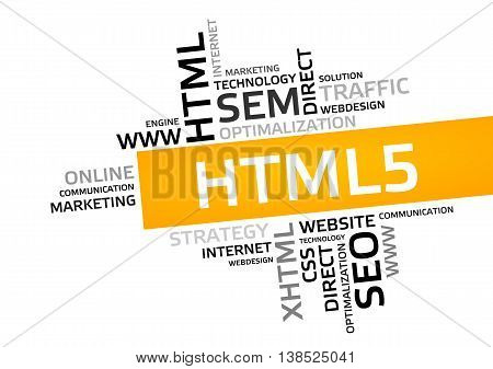 Html5 Word Cloud, Tag Cloud, Vector Graphic