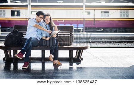 Couple Trip Tourism Station Travel Explore Train Concept