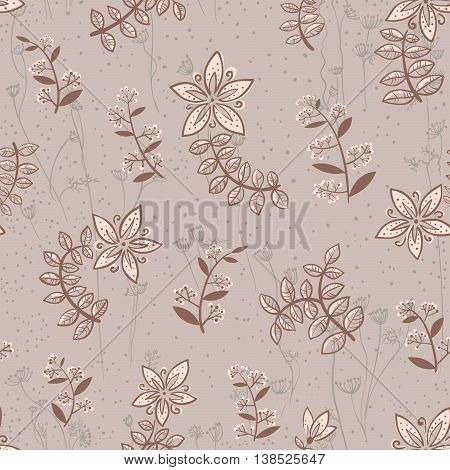 Vector doodle minimalistic floral seamless pattern with leaves