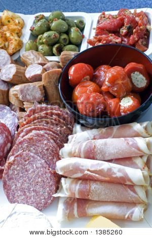Antipasto; Meat, Olives, Peppers, Cheese