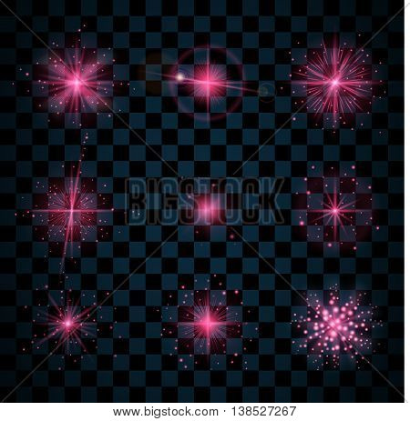 Pink shine stars with glitters sparkles icons set. Effect twinkle glare scintillation element sign graphic light. Transparent design elements dark background. Varied template. Vector illustration