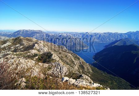 View of the Boca Bay (Montenegro) from the mountains