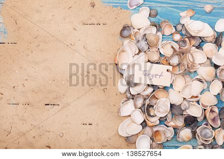 Sign target with shells. Vocation background. Sand and sea shells background