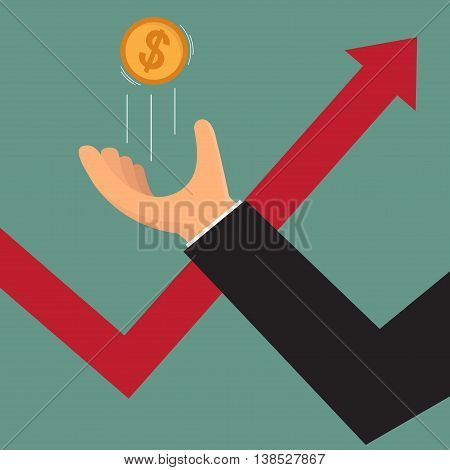 business hand throwing a coin as symbol of risk or luck with uptrend graph. vector illustration.