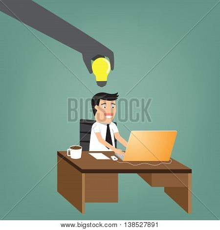 abstract of another hand is stealing idea from businessman at his desk. vector illustration.