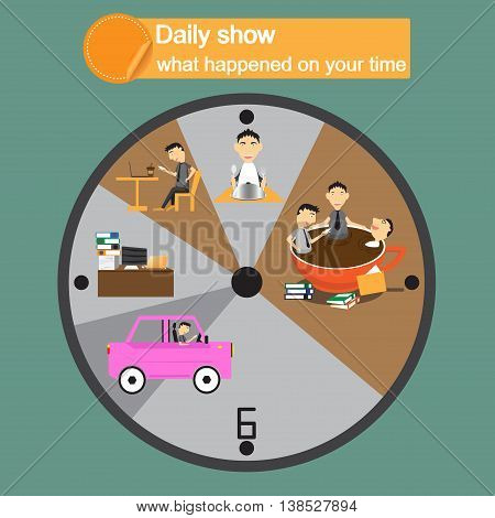 Businessman cartoon character round the clock daily routine circle pictograms composition. use over time on coffee break. abstract vector illustration.
