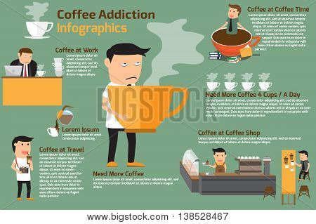 coffee addiction elements infographics. businessman need more coffee vector illustration.