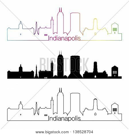 Indianapolis skyline linear style with rainbow in editable vector file