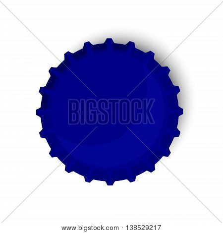Vector illustration blue bottle cap. Beer bottle cap top view