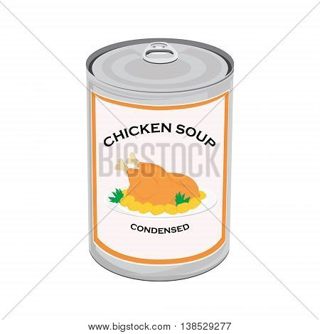 Vector illustration can of chicken soup isolated on white background. Canned food