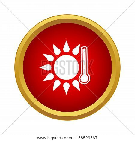 Thermometer with sun icon in simple style on a white background
