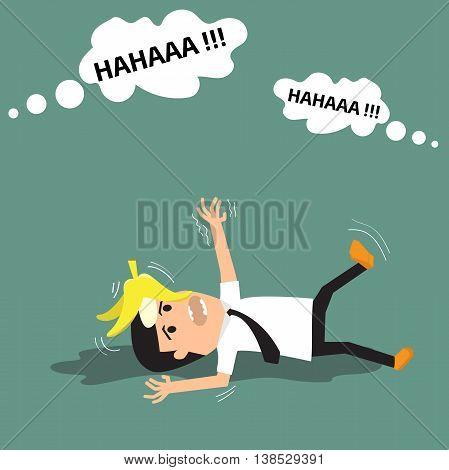 Businessman slipping on a banana peel. vector illustration.