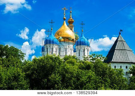 Novospassky Monastery With Golden Dome On The Blue Sky Background. Moscow. Russia.