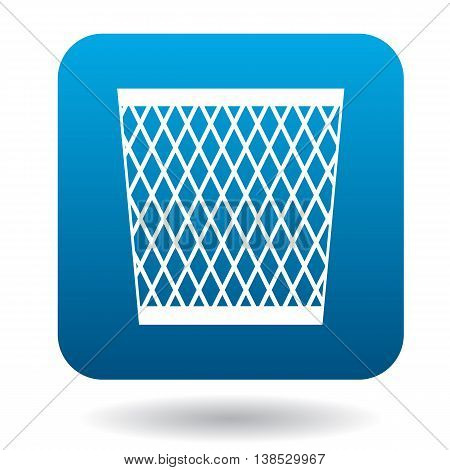 Mesh trash basket icon in simple style on a white background