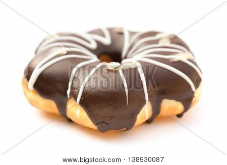 side view chocolate flavor donut on white background