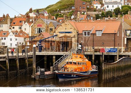 WHITBY ENGLAND - JULY 12: Lifeboat moored at Whitby Lifeboat Station. In Whitby North Yorkshire England. On 12th July 2016.