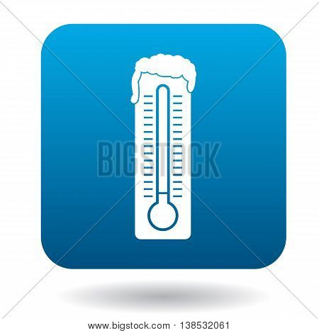 Frozen thermometer icon in simple style on a white background