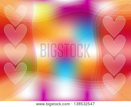 Colorful background with hearts and abstract shapes
