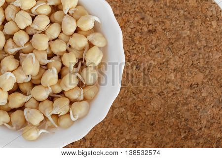 germinated chickpeas in a white bowl on the cork background