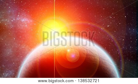 Eclipse of Red dwarf and planet in outer space
