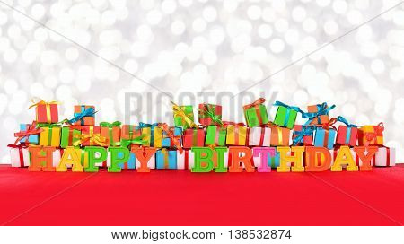 Happy Birthday Colorful Text And Varicolored Gifts
