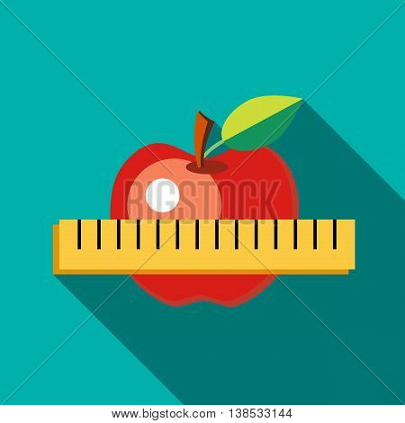 Red apple with measuring tape. The symbol of healthy nutrition icon in flat style with long shadow