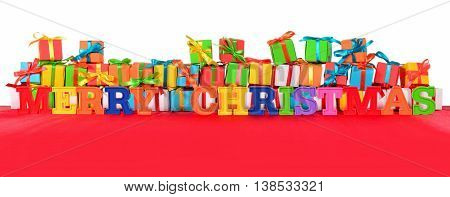 Merry Christmas Colorful Text And Varicolored Gifts
