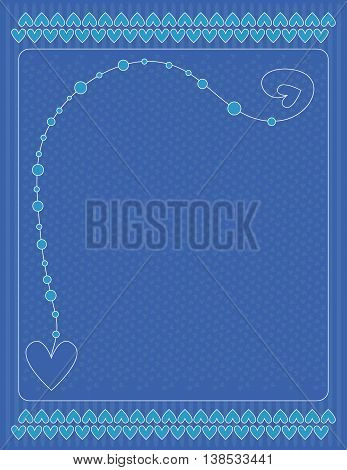 Romantic blue and white background with hearts