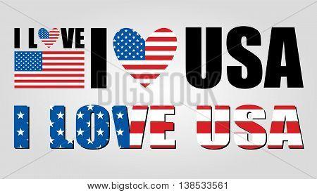 I love USA vector illustration on gray background