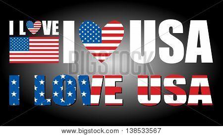 I love USA vector illustration on black background