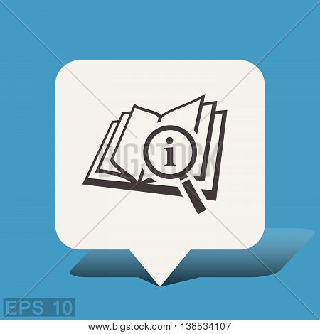Pictograph of book and magnifier glass. Vector concept illustration for design. Eps 10