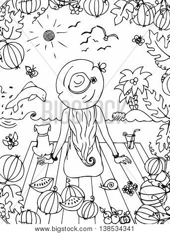 Vector illustration zentangl girl, woman with a dog in the sea, holiday, travel. Back, doodle watermelon. Dolphin palms. landscape. Coloring anti stress for adults. Black and white.