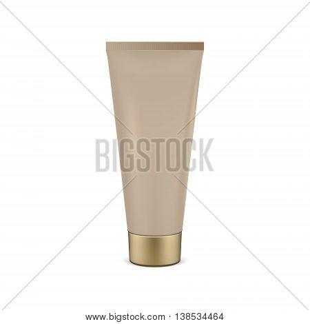 Beige tube mock-up for cream. Vector EPS10 illustration.