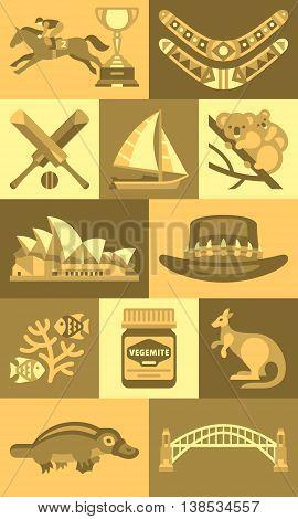 Travel Concept Australia Landmark Flat Icons Design . Illustration