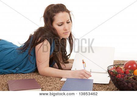 Girl Doing Homework Serious