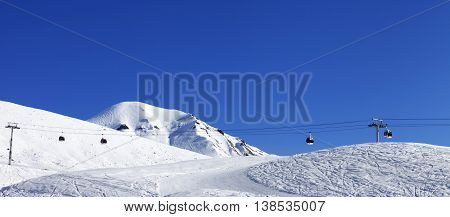 Panoramic View On Gondola Lift And Ski Slope At Nice Day