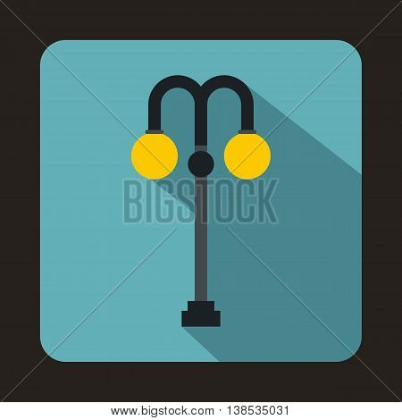 Street lamp icon in flat style with long shadow. Light symbol