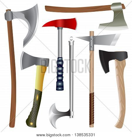 Set of different axes modern and ancient. Isolated vector objects.