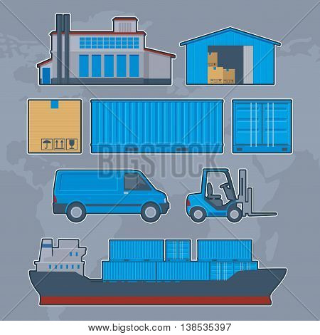 Logistics , Delivery , Warehouse info graphic design. Set vector icon illustration. Can be used for business data, web design, brochure template, background.