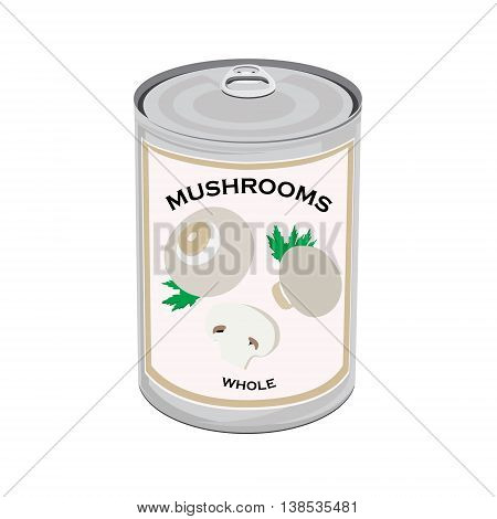 Vector illustration can of whole champignon mushrooms isolated on white background. Canned food