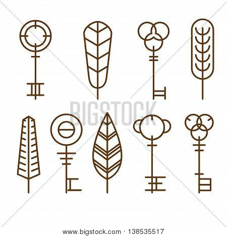 Collection of silhouettes of golden keys. icons keys of different styles, new and vintage